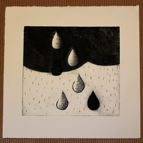 drypoint etching - paynes grey on archival paper