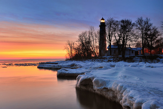 """""""Winters Dawn""""  Point Aux Barques Lighthouse - Port Hope, Michigan"""