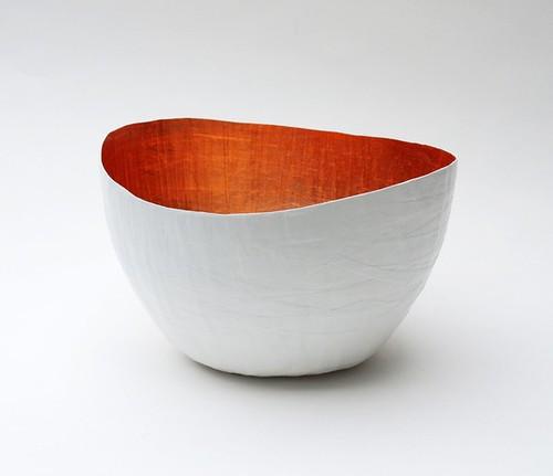 Paper maché wavy bowl