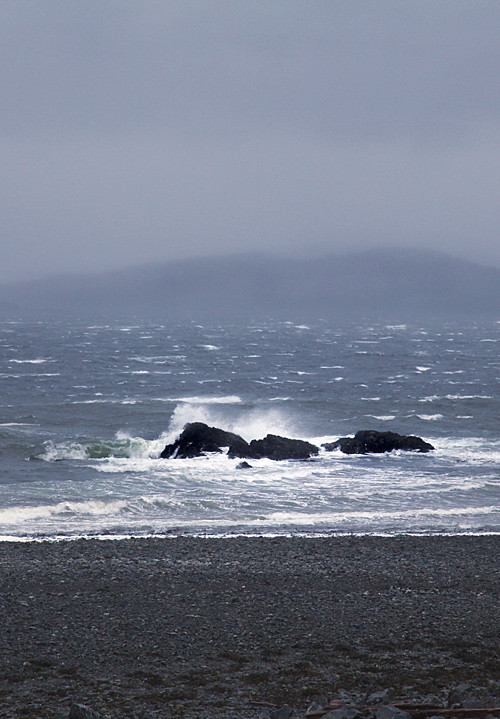 waves hit rocks, Kasaan Bay, Kasaan, Alaska
