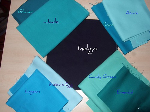 Color pallette for lap quilt labeled
