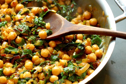 Quick curried chickpeas and beet greens by Eve Fox, Garden of Eating blog, copyright 2011