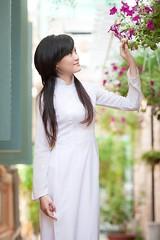[フリー画像素材] 人物, 女性 - アジア, 人物 - 花・植物, アオザイ, ベトナム人 ID:201202230800
