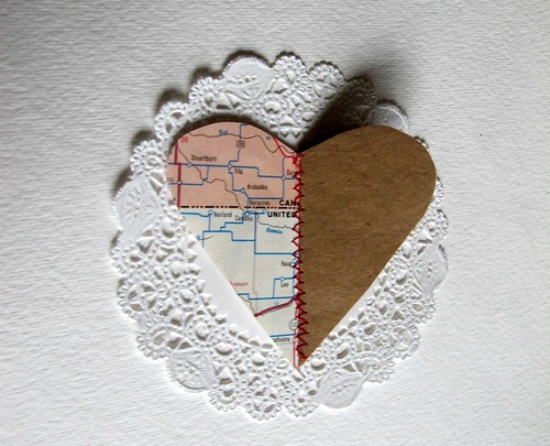 paper stitched half heart