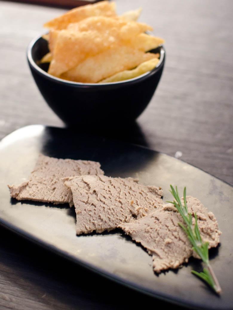 Izakaya Den - Duck liver parfait, crispy wonton skin $11