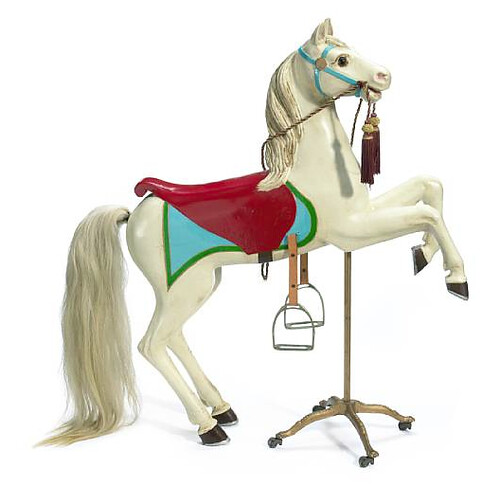 French carved and painted carousel horse, lot 7259