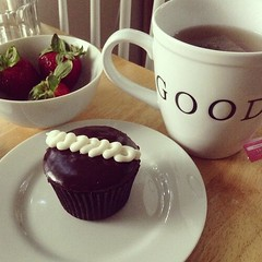 Afternoon Treat!  #tea #strawberries #cupcake #republicofcake #treattime