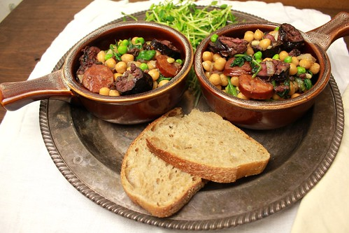Spring time stew of morcilla and garbanzos