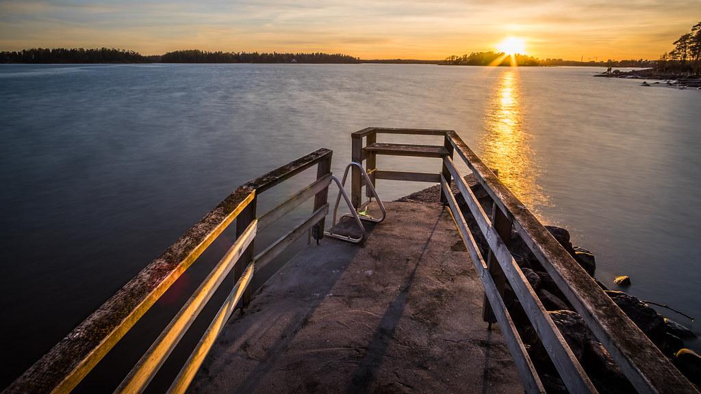 Sunset in Lauttasaari, Helsinki, Finland picture