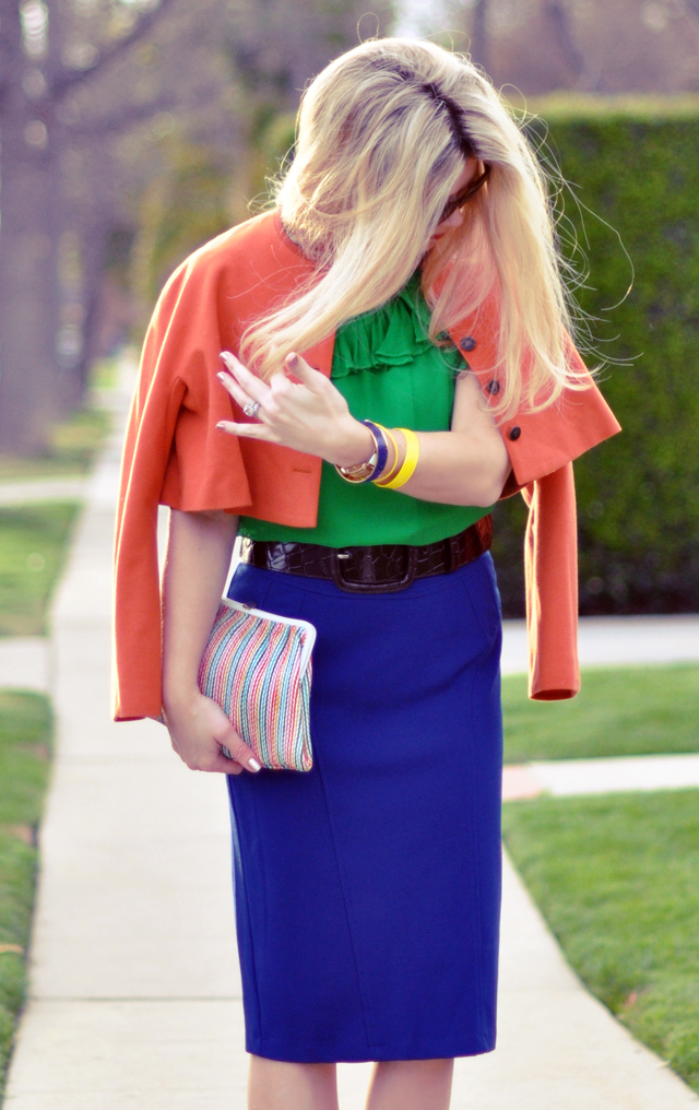 orange jacket - green blouse- blue skirt-color blocking-colorful outfit