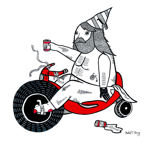 On how Dirk celebrated his 30th birthday with his toy bike by Michael C. Hsiung
