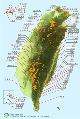 飲用水水源水質保護區分布圖 (環保署提供)