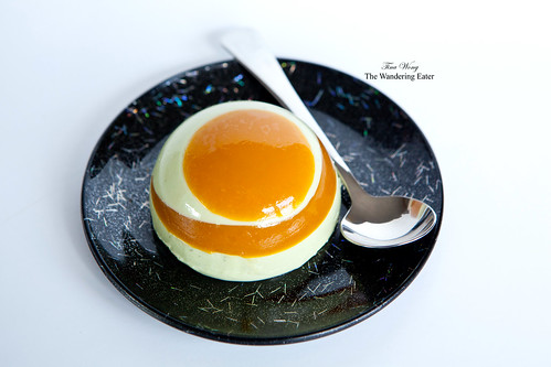 Green tea yogurt panna cotta with passion fruit gelée