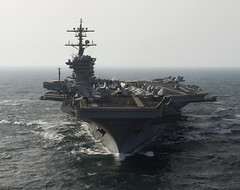 In this file photo, aircraft carrier USS Carl Vinson (CVN 70) transits in the Arabian Gulf, March 9, 2012. (U.S. Navy photo by Mass Communication Specialist 2nd Class James R. Evans)