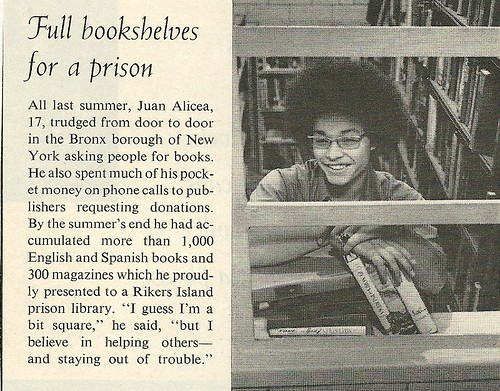 1972 Rikers Prison Book Drive Teen, NYC (12/15/72 Life Magazine)