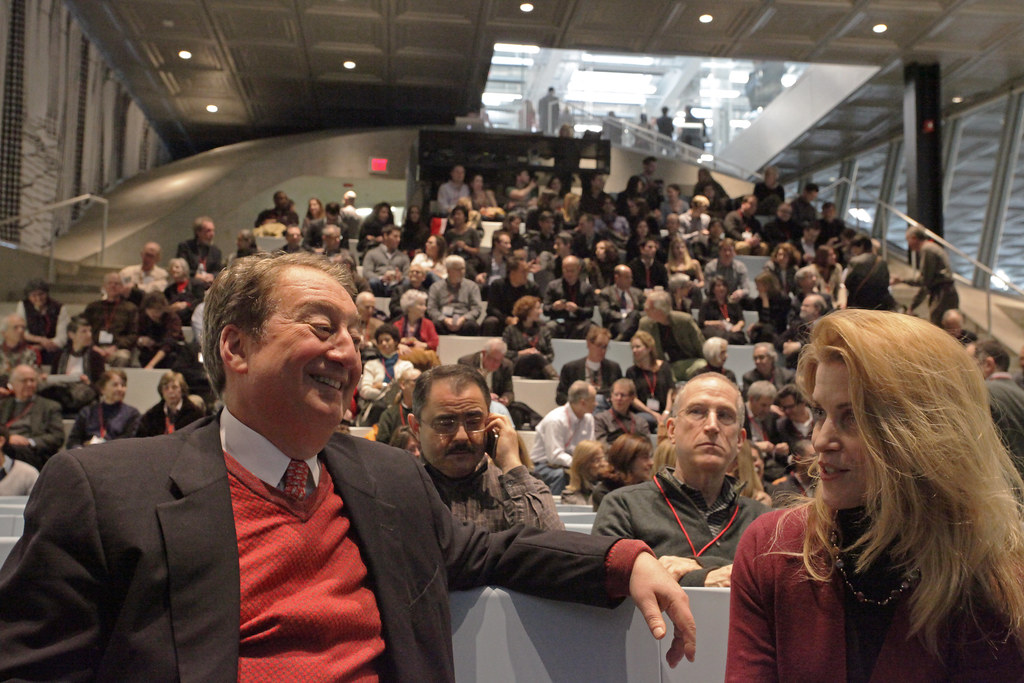 Howard Milstein and guest attend the Rem Koolhaas lecture in the Abby and Howard Milstein  Auditorium.