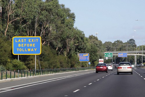 'Last exit before tollway' sign on the Eastern Freeway at Springvale Road