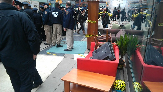 Empty living room outside Bank of America #OWS