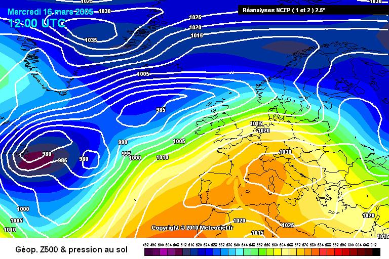 carte de situation de la vague de chaleur de mars 2005 météopassion