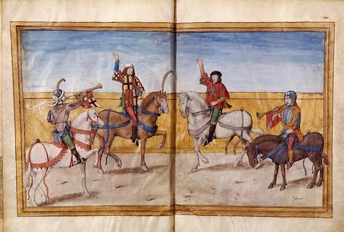 003-Le libre des tournois…1460- René d' Anjou-Français 2692, fol. 3v-4, Proclamacion de la justa de Bruges (1392)
