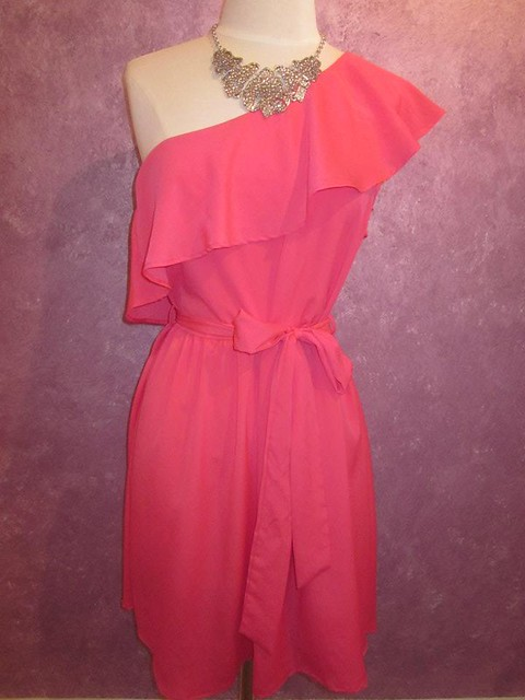 pink one shoulder