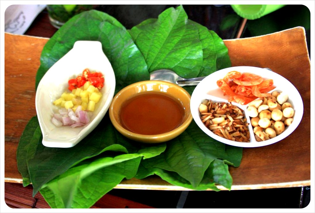 ingredients for thai leaf-wrapped snack