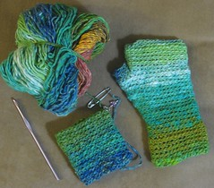 basic fingerless mittens in noro taiyo - in progress