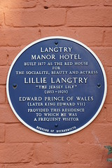 Photo of Edward VII, Lillie Langtry, and Langtry Manor Hotel  blue plaque