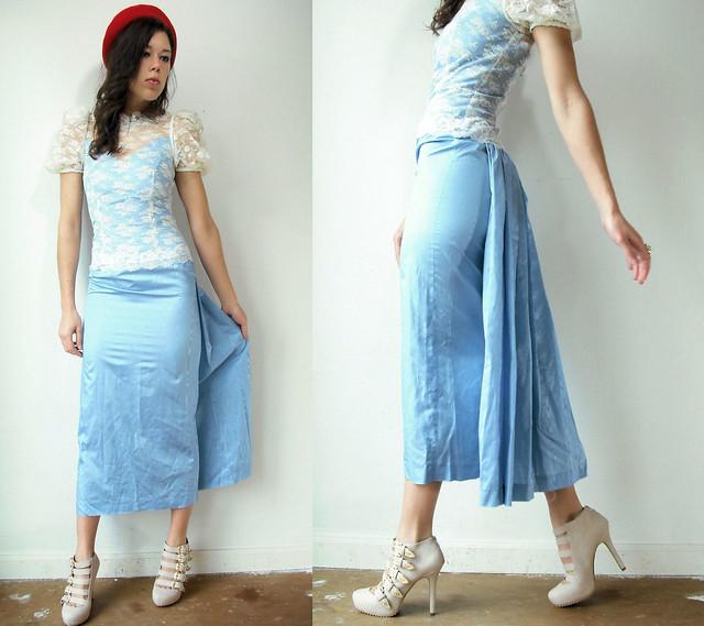 blue lace bustle dress