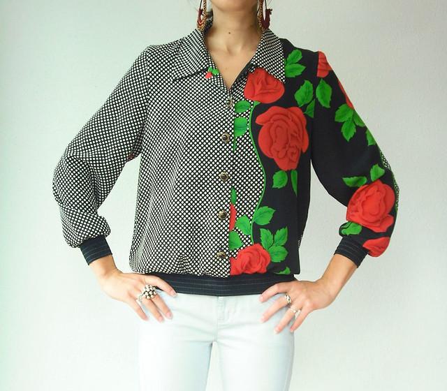 rose polka dot blouse
