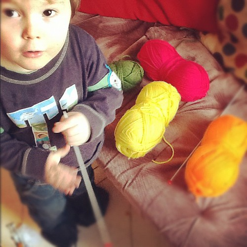 Knitting with the boy, his colour choices!