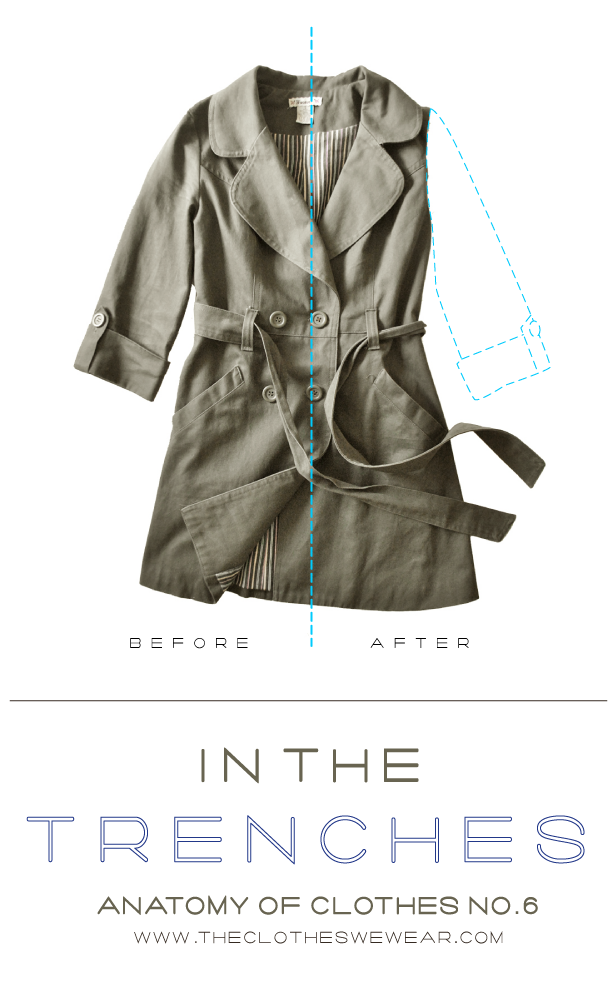 Anatomy of Clothes 6 - How-To Layer - diy sleeveless trench coat, bright blue pants, silk blouse, cardigan, boots