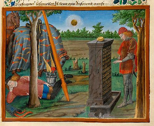 002-Corazon descifra la inscripcion de la Fuente de la Fortuna-fol. 15-Le livre du Coeur d'amour épris, par le roi René d'Anjou-1460-BNF