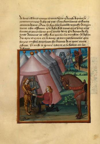 006-Deseo llega al campamento de Honor y le rinde homenaje-Fol. 34 v-Le livre du Coeur d'amour épris, par le roi René d'Anjou-1460-BNF