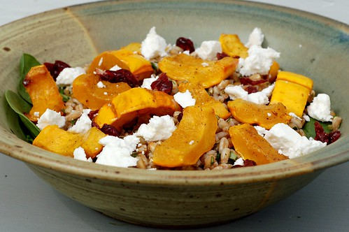 Farro and roasted delicata squash with chevre and spinach by Eve Fox, Garden of Eating blog, copyright 2012