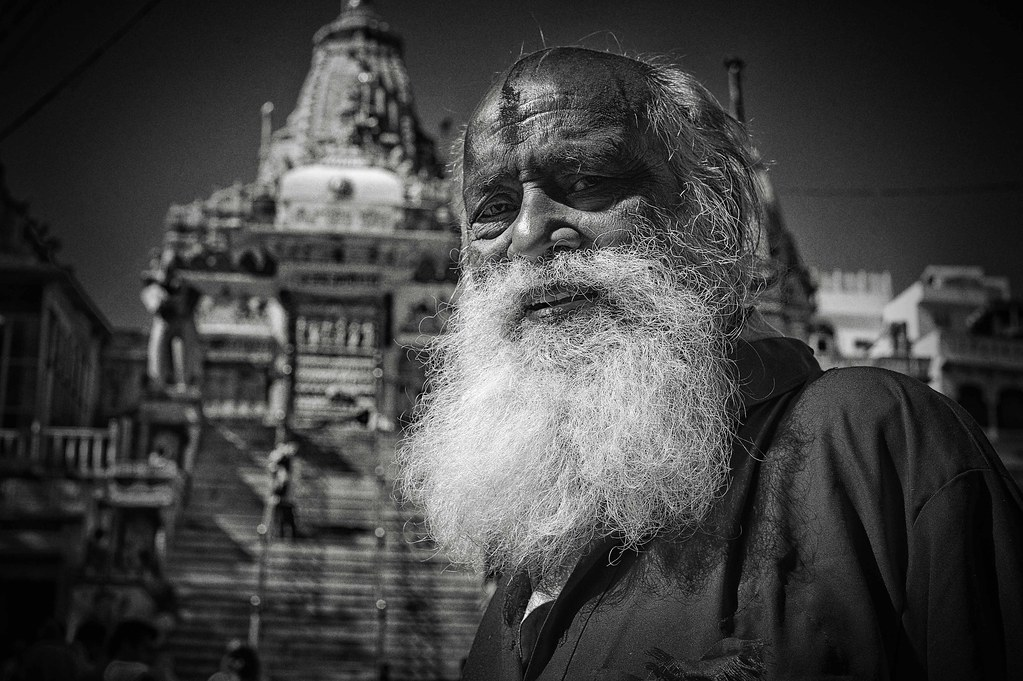 Bearded Sadhu outside Jagdish temple