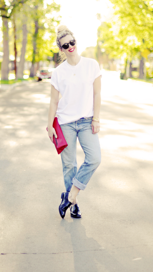 vintage jeans  cuffed  with  oxfords -90s