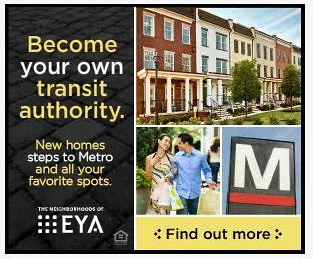 "EYA housing, online ad (Trulia), promoting living by transit, ""Become your own transit authority,"" featuring the M logo of the WMATA subway system"