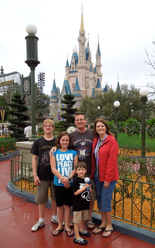 The fam in front of the castle