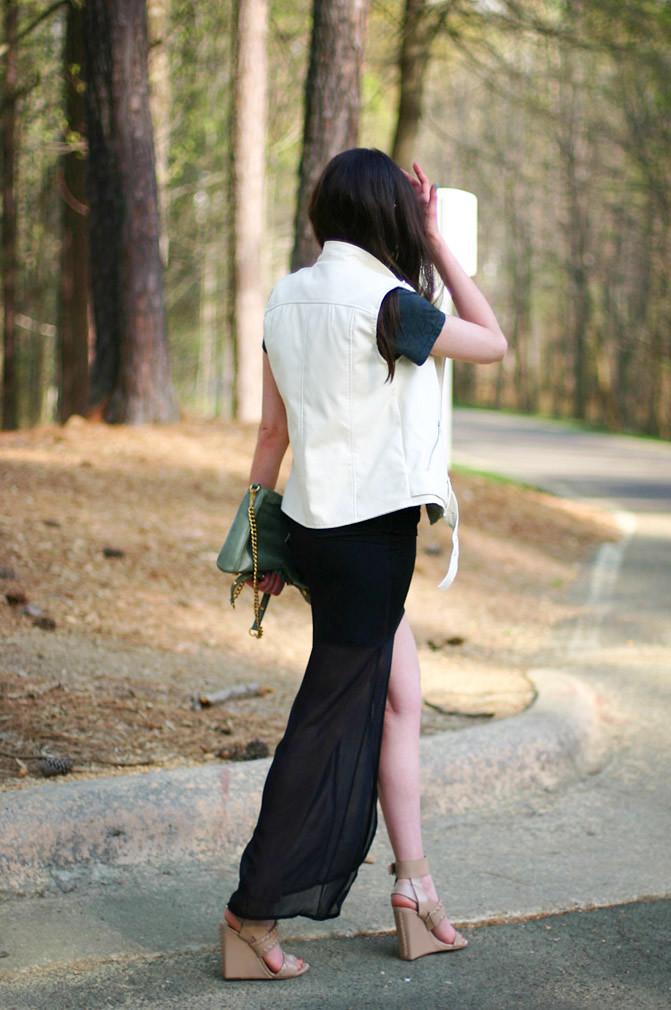 Rebecca Minkoff Mac, Alexander Wang wedges, Fashion, sheer high low maxi