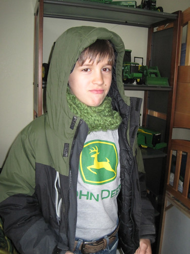 JD Boy's (age 9) Scarf that he Knitted