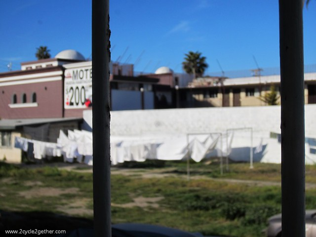View from our kitchen window in our hotel room, nice to see them drying our sheets & towels!