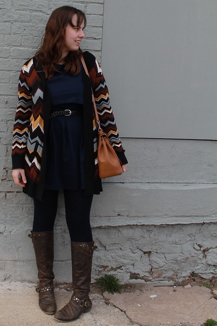 Chevron and open-back outfit: leather boots, wool tights, open-back navy dress, vintage leather link belt, Kelly bag, Missoni for Target cardigan