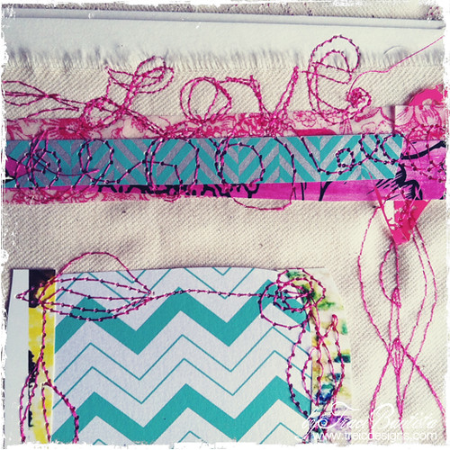 canvas free motion stiched art journal page by traci bautista