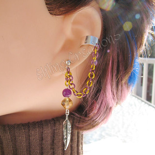 Purple and Yellow Feather Cartilage Chain Earring