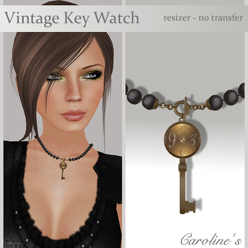 Caroline's Jewelry Vintage Watch Key Necklace - Black
