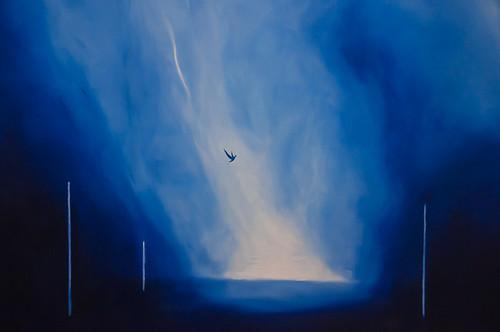 """Ernesto Morales: """"Golondrinas"""" 2011 olio su tela 120x100 (particolare)"""