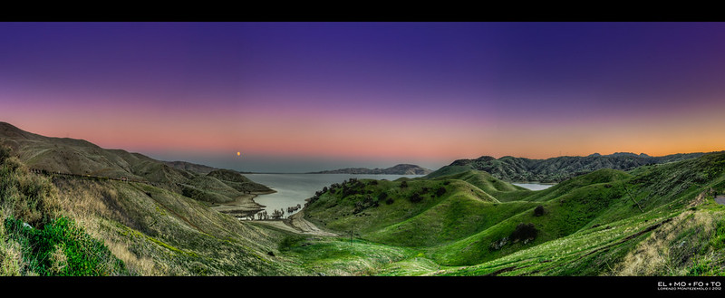 moonrise panorama | san luis reservoir, ca