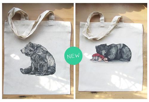 bear tote bags by www.sandradieckmann.com