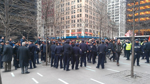 There are absolutely more NYPD at Zuccotti than protesters #OWS